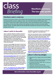 Briefing: Manifesto summary - The two main parties