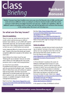 BRIEFING: Bankers' Bonuses